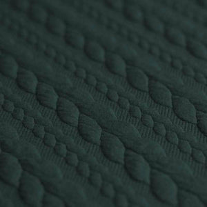 Cable Knit Jacquard Jersey Fabric - Solid in Dark Green-Jelly Fabrics