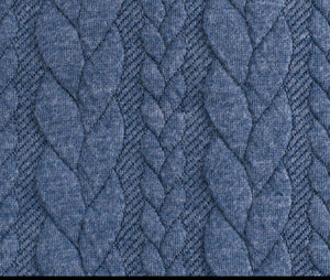 Cable Knit Jacquard Jersey Fabric - Solid in Dark Jeans-Jacquard-Jelly Fabrics