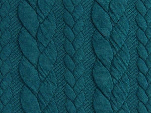 Cable Knit Jacquard Jersey Fabric - Solid in Dark Petrol-Jacquard-Jelly Fabrics