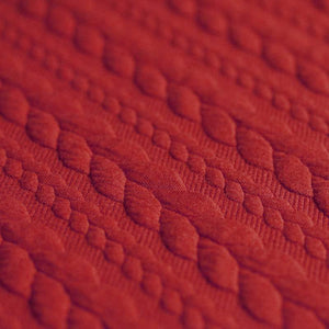 Cable Knit Jacquard Jersey Fabric - Solid in Dark Red-Jacquard-Jelly Fabrics
