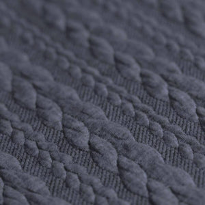 Cable Knit Jacquard Jersey Fabric - Solid in Jeans Melange-Jacquard-Jelly Fabrics