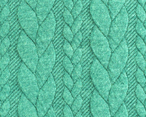 Cable Knit Jacquard Jersey Fabric - Solid in Mint-Jacquard-Jelly Fabrics
