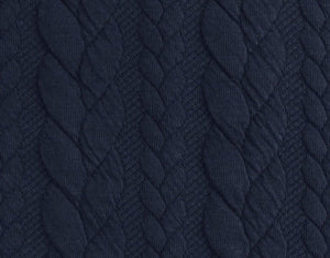 Cable Knit Jacquard Jersey Fabric - Solid in Navy Blue-Jelly Fabrics