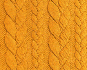 Cable Knit Jacquard Jersey Fabric - Solid in Ochre-Jacquard-Jelly Fabrics