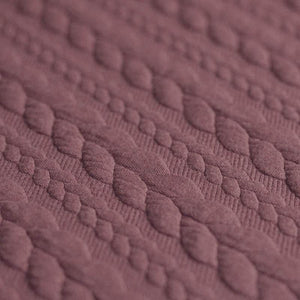 Cable Knit Jacquard Jersey Fabric - Solid in Old Mauve-Jelly Fabrics