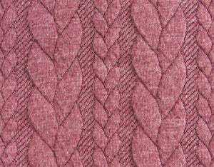 Cable Knit Jacquard Jersey Fabric - Solid in Purple Grape-Jacquard-Jelly Fabrics