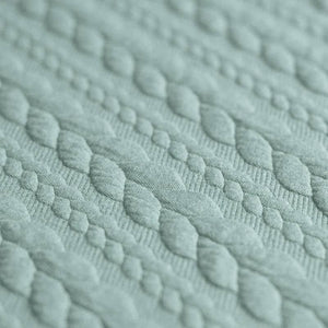 Cable Knit Jacquard Jersey Fabric - Solid in Sea Green-Jacquard-Jelly Fabrics