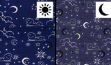 Jersey Fabric - Glow in the Dark Clouds and Stars in Blue-Jersey Fabric-Jelly Fabrics