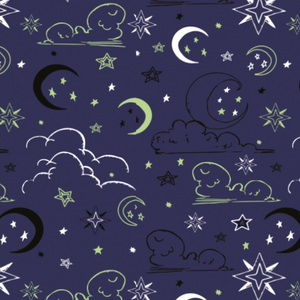 Jersey Fabric - Glow in the Dark Clouds and Stars in Blue-Jelly Fabrics