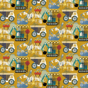 Organic Jersey Fabric - Construction Vehicles in Ochre-Jelly Fabrics