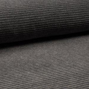 Wide Stretch Corduroy Jersey Fabric - Solid Dark Grey Melange-Corduroy-Jelly Fabrics