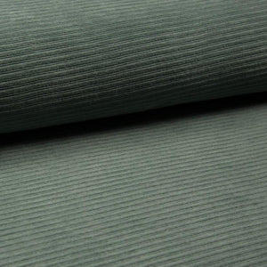 Wide Stretch Corduroy Jersey Fabric - Solid Dusty Green-Corduroy-Jelly Fabrics