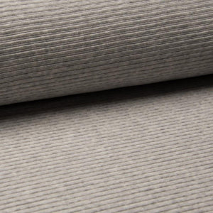 Wide Stretch Corduroy Jersey Fabric - Solid Light Grey Melange-Corduroy-Jelly Fabrics