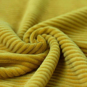 Wide Stretch Corduroy Jersey Fabric - Solid Yellow-Jelly Fabrics
