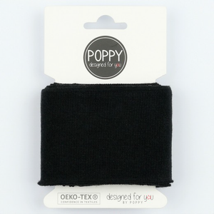 Ready Made Cuff - Solid Black-Cuff Ribbing-Jelly Fabrics