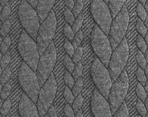Cable Knit Jacquard Jersey Fabric - Solid in Anthracite-Jelly Fabrics