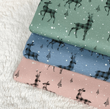 Jersey Fabric - Christmas Deer in Old Rose-Jelly Fabrics