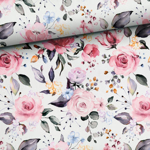 French Terry Fabric - Delicate Roses-French Terry-Jelly Fabrics