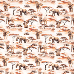 PRE-ORDER!!! - Cotton Jersey Fabric - Digital Safari Elephants-Jersey Fabric-Jelly Fabrics