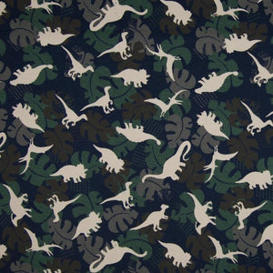 Jersey Fabric - Dinosaurs among Leaves in Navy-Jersey Fabric-Jelly Fabrics