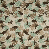 Jersey Fabric - Dinosaurs among Leaves in Sand-Jelly Fabrics