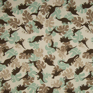 Jersey Fabric - Dinosaurs among Leaves in Sand-Jersey Fabric-Jelly Fabrics