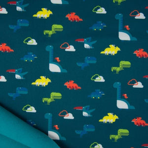 Softshell Fabric - Dinosaurs in Petrol-Jelly Fabrics