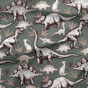 French Terry Knit Fabric - Dinosaurs in Khaki