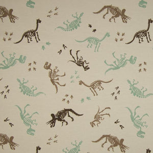 Jersey Fabric - Dino Skeleton in Sand-Jersey Fabric-Jelly Fabrics