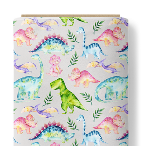 French Terry Knit Fabric - Dinosaurs in Light Grey-French Terry-Jelly Fabrics