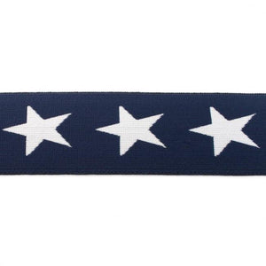 Elastic - Stars on Navy Blue elastic 40mm-Jelly Fabrics