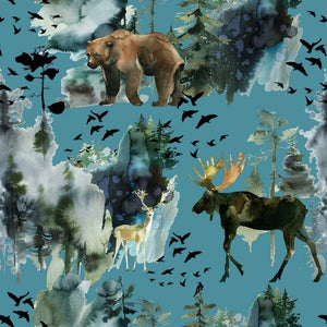 PRE-ORDER!!! - Organic Jersey Fabric - Elk and Bear on Blue