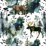 PRE-ORDER!!! - Organic Jersey Fabric - Elk and Bear on White
