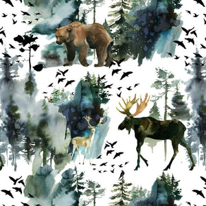 PRE-ORDER!!! - Organic Jersey Fabric - Elk and Bear on White-Organic Jersey-Jelly Fabrics
