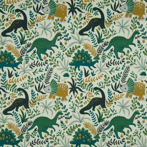 Cotton Jersey Fabric - Floral Dinos in Dusty Green