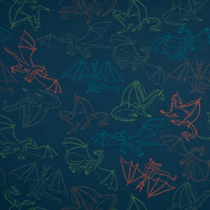 Brushed French Terry Knit Fabric - Flying Dragons in Jeans