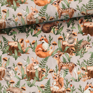 French Terry Fabric - Forest Animals on Beige