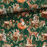 French Terry Fabric - Forest Animals on Green-Jelly Fabrics