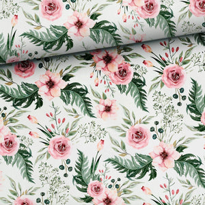 Cotton Jersey Fabric - Pink Flower Garden-Jersey Fabric-Jelly Fabrics