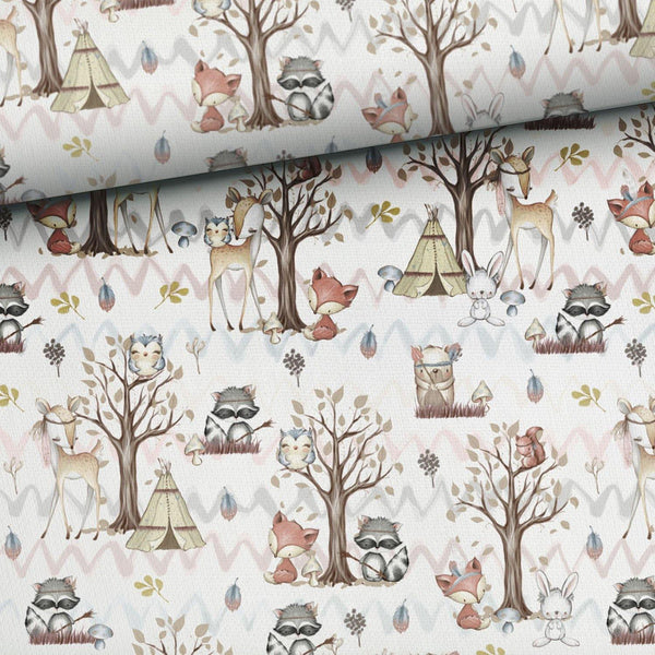 Cotton Fabric Panel - Forest Friends Owl