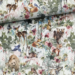 French Terry Fabric - Spring Aquarelle Forest Animals-French Terry-Jelly Fabrics
