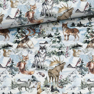 French Terry Fabric - Winter Aquarelle Forest Animals-French Terry-Jelly Fabrics
