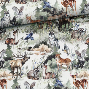 Cotton Jersey Fabric - Aquarelle Forest Animals-Jersey Fabric-Jelly Fabrics