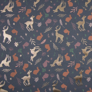 PRE-ORDER!!! - Single Jersey Fabric - Glitter Forest Animals in Navy Blue-Jersey Fabric-Jelly Fabrics