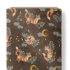 French Terry Fabric - Playing Foxes in Dark Taupe