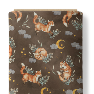 French Terry Fabric - Playing Foxes in Dark Taupe-French Terry-Jelly Fabrics