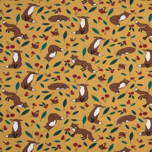 Jersey Fabric - Foxes in Ochre-Jersey Fabric-Jelly Fabrics