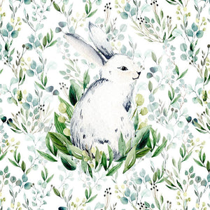 French Terry Knit Panel - Bunny on Green Meadow-French Terry Panel-Jelly Fabrics