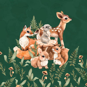 French Terry Knit Panel - Forest Animals in Dark Green
