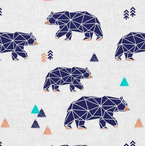 Sweatshirt Knit - Geo Bears-Jelly Fabrics